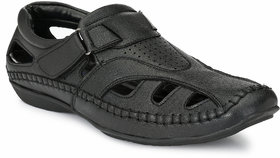 El Paso Men's Black Artificial Leather Velcro Closure Comfort Casual Sandals