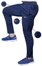 Nike Navy Polyester Trackpants for Men