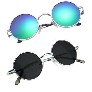 f9b617f4bac Buy Derry Combo Of 2 Women Round Style Blue and Black UV Protection  Sunglasses Online - Get 80% Off