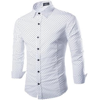 Royal Fashion Dotted White Shirt For Men