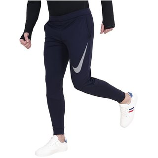 Nike Navy Polyester Running Trackpants For Men