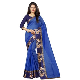 Indian Style Sarees New Arrivals Latest Women's Blue Color Chanderi Cotton Kalamkari Print Border With Kalamkari Blouse