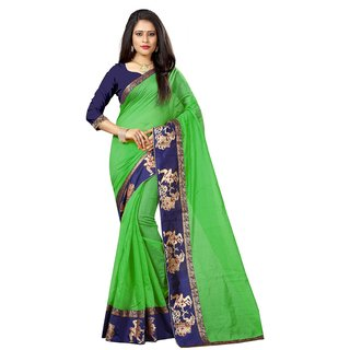 Indian Style Sarees New Arrivals Latest Women's Green Color Chanderi Cotton Kalamkari Print Border With Kalamkari Blouse
