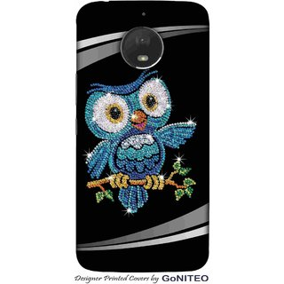 Printed Mobile Phone Back Cover Case for Moto E4 Plus by GoNITEO || Owl || Bling || Black ||