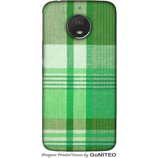 Printed Mobile Phone Back Cover Case for Moto E4 Plus by GoNITEO || Green || Cloth || Texture ||