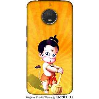 Printed Mobile Phone Back Cover Case for Moto E4 Plus by GoNITEO || Baal Hanuman || Kids || Orange ||