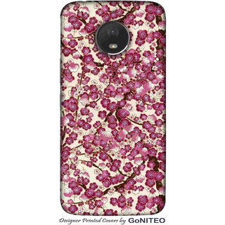 Printed Mobile Phone Back Cover Case for Moto E4 Plus by GoNITEO || Magenta || Flowers || White ||