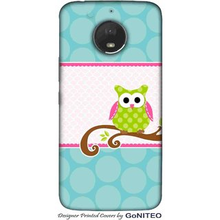 Printed Mobile Phone Back Cover Case for Moto E4 Plus by GoNITEO || Owl || Green || Blue ||