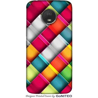 Printed Mobile Phone Back Cover Case for Moto E4 Plus by GoNITEO || 3d Multi color || Squares || Design ||