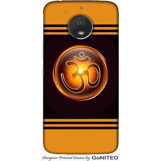 Printed Mobile Phone Back Cover Case for Moto E4 Plus by GoNITEO || Om || Orange || Black ||
