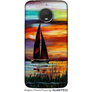 Printed Mobile Phone Back Cover Case for Moto E4 Plus by GoNITEO || Boat || River || Sunset ||