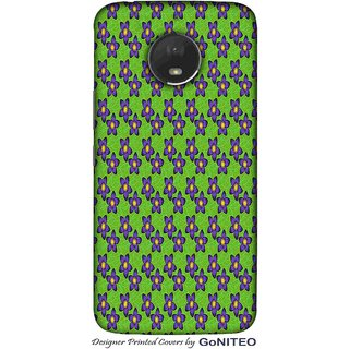 Printed Mobile Phone Back Cover Case for Moto E4 Plus by GoNITEO || Flower || Blue || Green ||