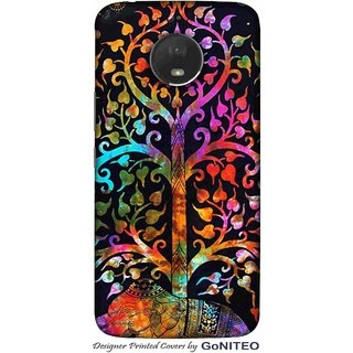Printed Mobile Phone Back Cover Case for Moto E4 Plus by GoNITEO || Tree || Multi Color || Painting ||
