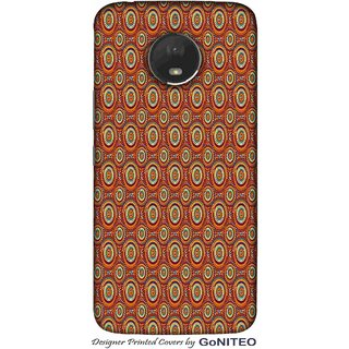Printed Mobile Phone Back Cover Case for Moto E4 Plus by GoNITEO || Brown || Circle || Texture ||