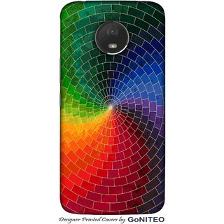 Printed Mobile Phone Back Cover Case for Moto E4 Plus by GoNITEO || Circle || Texture || Multi Color ||