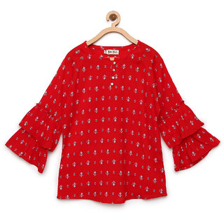 Bella Moda Girls Red Fit & Flare Top