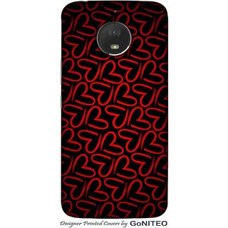 Printed Mobile Phone Back Cover Case for Moto E4 Plus by GoNITEO || Hearts || Red || Black ||
