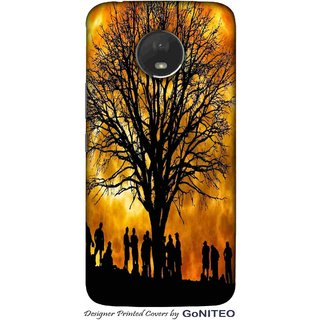 Printed Mobile Phone Back Cover Case for Moto E4 Plus by GoNITEO || Sun  || Tree || People ||