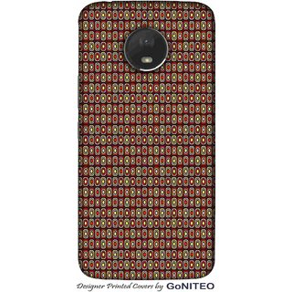 Printed Mobile Phone Back Cover Case for Moto E4 Plus by GoNITEO    Circles    Brown    Tribal   