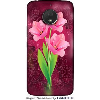 Printed Mobile Phone Back Cover Case for Moto E4 Plus by GoNITEO || Pink || Flower || Magenta ||