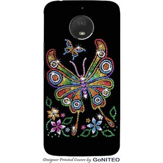 Printed Mobile Phone Back Cover Case for Moto E4 Plus by GoNITEO || Butterfly || Bling || Black ||
