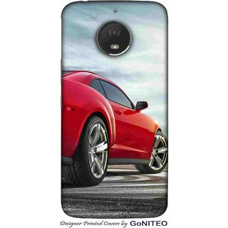 Printed Mobile Phone Back Cover Case for Moto E4 Plus by GoNITEO || Cars || Red || Racer ||