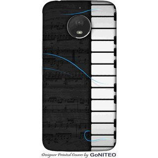 Printed Mobile Phone Back Cover Case for Moto E4 Plus by GoNITEO || Music || Piano || Notes ||