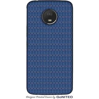 Printed Mobile Phone Back Cover Case for Moto E4 Plus by GoNITEO || Oval || Texture || Blue ||