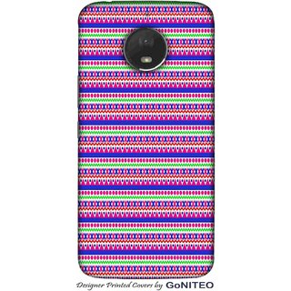 Printed Mobile Phone Back Cover Case for Moto E4 Plus by GoNITEO || Pink || Blue || Aztec ||
