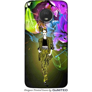 Printed Mobile Phone Back Cover Case for Moto E4 Plus by GoNITEO || Girl || Ramp || Flower ||