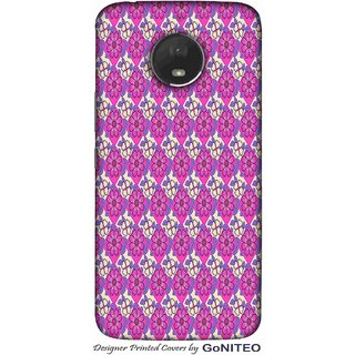 Printed Mobile Phone Back Cover Case for Moto E4 Plus by GoNITEO || Flower || Pink || Blue ||