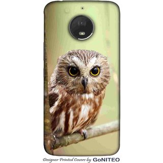 Printed Mobile Phone Back Cover Case for Moto E4 Plus by GoNITEO || Owl || Tree || Looks ||