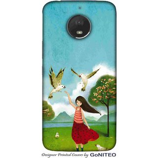 Printed Mobile Phone Back Cover Case for Moto E4 Plus by GoNITEO || Girl || Play || Pigeon ||