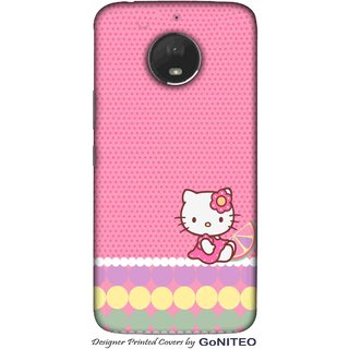 Printed Mobile Phone Back Cover Case for Moto E4 Plus by GoNITEO || Catty || Pink || Dots ||