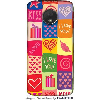 Printed Mobile Phone Back Cover Case for Moto E4 Plus by GoNITEO || Love || Kiss || Hearts ||
