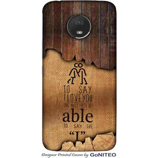 Printed Mobile Phone Back Cover Case for Moto E4 Plus by GoNITEO || Love || Couple || Wood ||