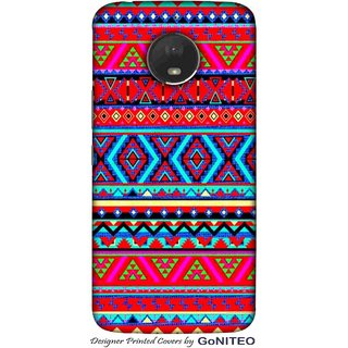 Printed Mobile Phone Back Cover Case for Moto E4 Plus by GoNITEO || Aztec || Tribal || Red ||