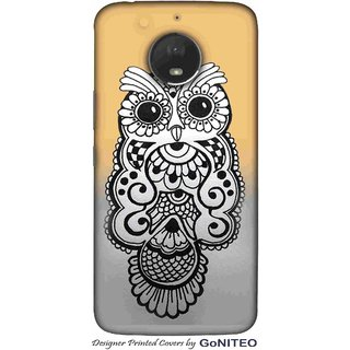 Printed Mobile Phone Back Cover Case for Moto E4 Plus by GoNITEO || Owl || Art || Drawing ||