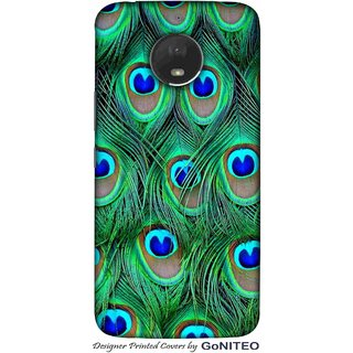 Printed Mobile Phone Back Cover Case for Moto E4 Plus by GoNITEO || Peacock || Feather || Green ||