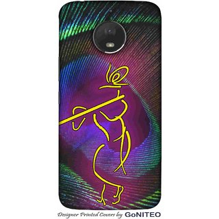 Printed Mobile Phone Back Cover Case for Moto E4 Plus by GoNITEO || Krishna  || Feather || Murli ||