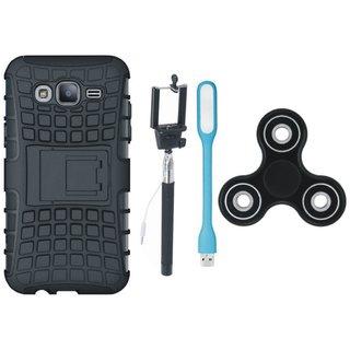 Vivo V7 Shockproof Tough Defender Cover with Spinner, Selfie Stick and USB LED Light