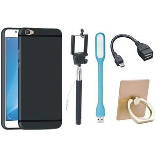 Moto E4 Plus Soft Silicon Slim Fit Back Cover with Ring Stand Holder, Selfie Stick, LED Light and OTG Cable