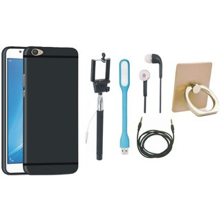 Samsung J7 Pro Silicon Slim Fit Back Cover with Ring Stand Holder, Selfie Stick, Earphones, USB LED Light and AUX Cable