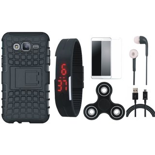 Samsung J7 Prime Shockproof Tough Armour Defender Case with Free Spinner, Digital LED Watch, Tempered Glass, Earphones and USB Cable