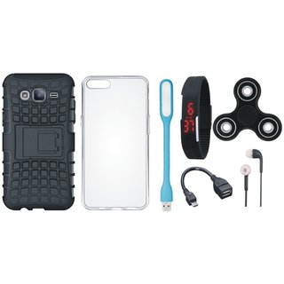 Vivo Y69 Dual Protection Defender Back Case with Spinner, Silicon Back Cover, Digital Watch, Earphones, USB LED Light and OTG Cable