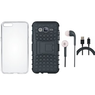 Samsung J7 Prime Shockproof Kick Stand Defender Back Cover with Silicon Back Cover, Earphones and USB Cable
