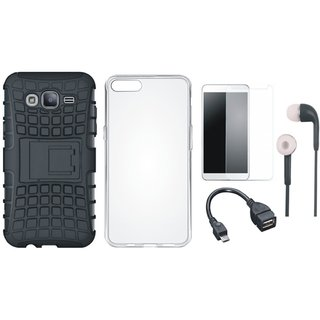 Samsung J7 NXT Shockproof Kick Stand Defender Back Cover with Silicon Back Cover, Tempered Glass, Earphones and OTG Cable