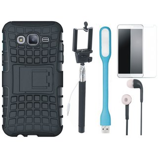 Samsung J7 NXT Dual Protection Defender Back Case with Free Selfie Stick, Tempered Glass, Earphones and LED Light