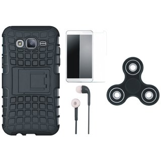 Samsung J7 NXT Dual Protection Defender Back Case with Spinner, Earphones and Tempered Glass