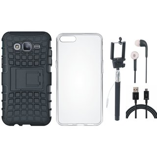 Samsung J7 Prime Shockproof Tough Defender Cover with Silicon Back Cover, Selfie Stick, Earphones and USB Cable